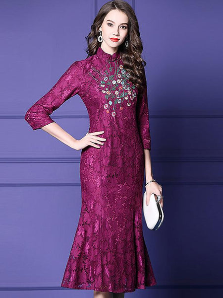 Cheongsam Lace Embroidery Stand Collar 3/4 Sleeve Fishtail Dress