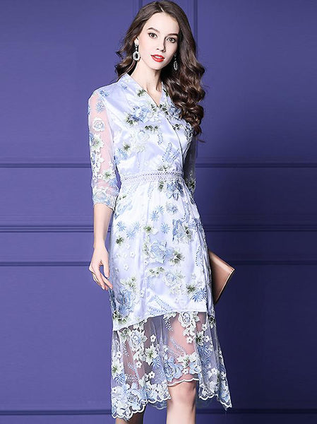 Floral Embroidery V-Neck 3/4 Sleeve Fishtail Dress