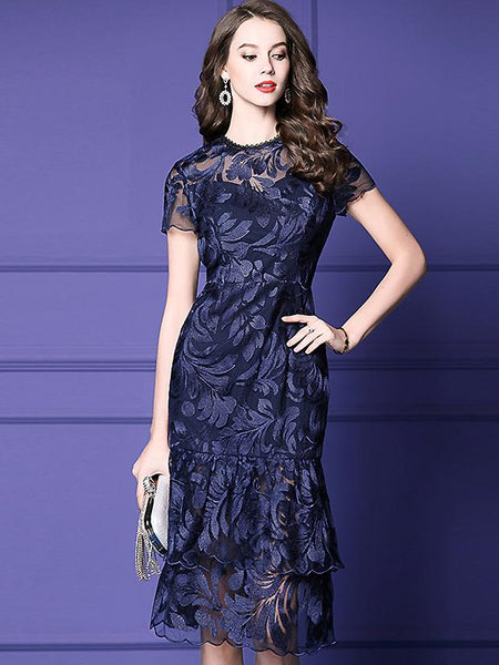 Lace Embroidery O-Neck Short Sleeve Midi Fishtail Dress