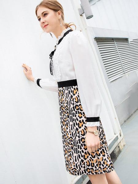 Stitching Bowknot Collar Lace Long Sleeve Beaded Leopard Print Dress