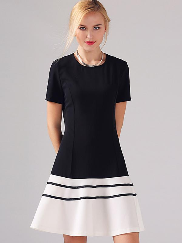Casual Hit Color O-Neck Short Sleeve Mini Dress