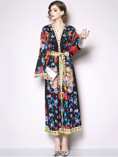 Fashion Lion Pattern V-Neck Long Sleeve Belted Dress