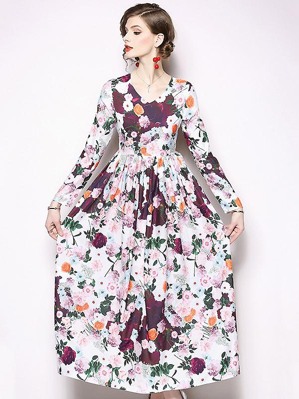 Sweet O-Neck Long Sleeve Big Hem Floral Dress