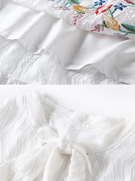 Casual Embroidery Bowknot Collar Lace Stitching Big Hem Dress