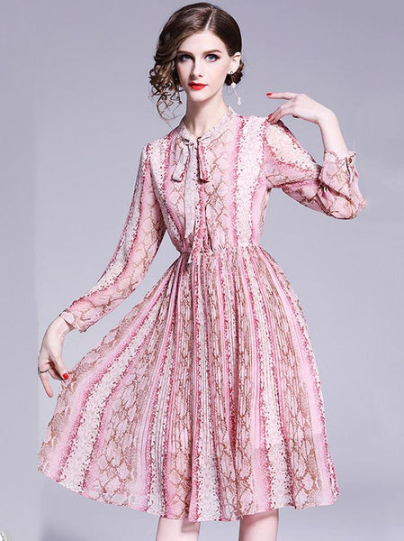 Chiffon Print Stand Collar Long Sleeve Pleated Dress