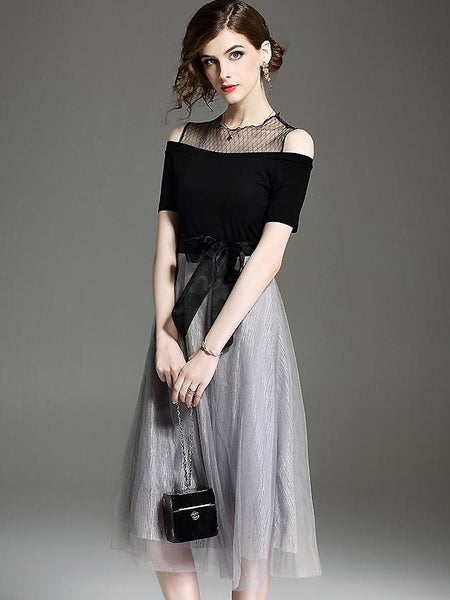 Fashion Mesh Stitching O-Neck Short Sleeve Midi Dress