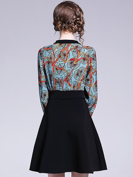 Chic Fake Two Piece Print O-Neck Puff Sleeve Shirt & High Waist Dress
