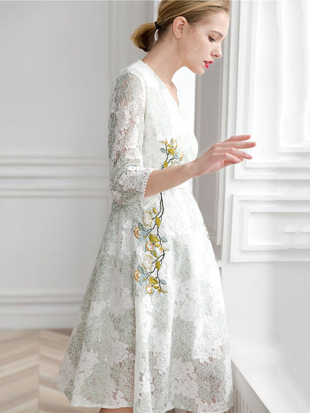 Lace Floral Embroidery V-Neck 3/4 Sleeve A-Line Midi Dress
