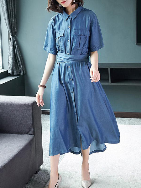 Silk Pure Color Turn-Down Collar Short Sleeve Single-Breasted Dress