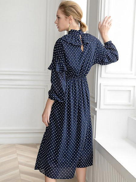 Polka Dots Ruffled Stand Collar Long Sleeve A-Line Big Hem Dress