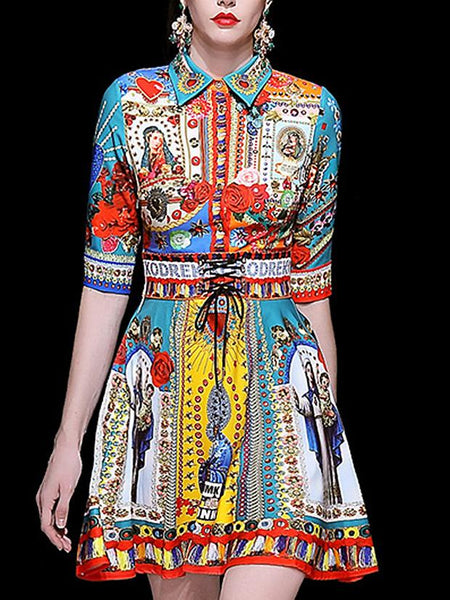 Folk Multi Print Turn-Down Collar 3/4 Sleeve Girdle Skater Dress