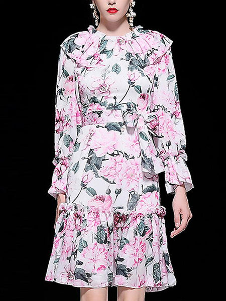 Floral Print Falbala O-Neck Long Sleeve Lacing Pleated Dress