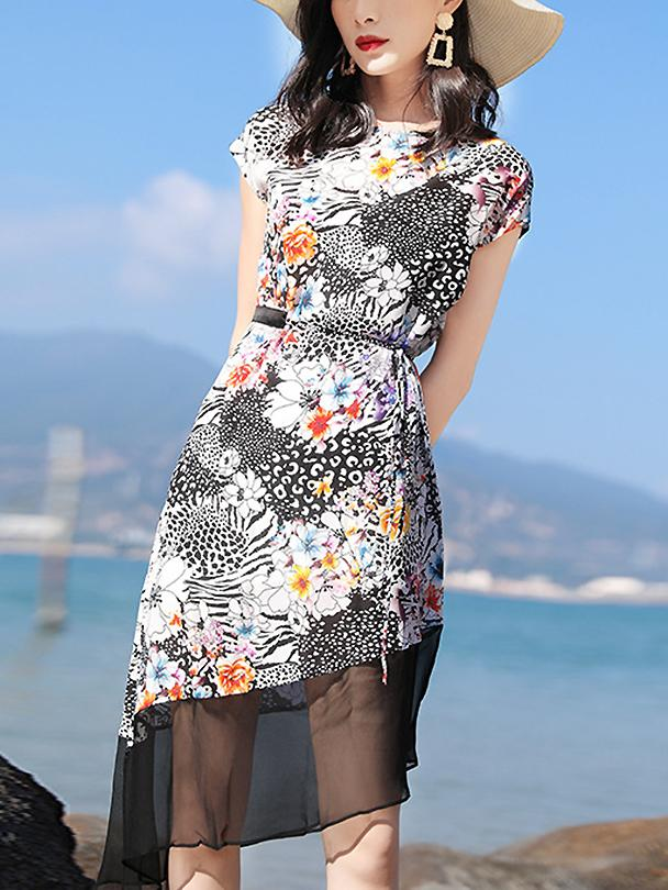 Brief O-Neck Sleeveless Stitching Floral Dress