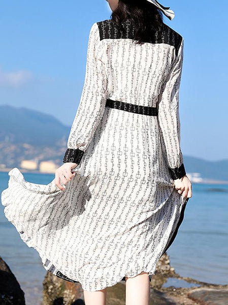 Casual Hit Color Bowknot Collar Long Sleeve Dress