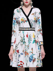 Floral Print V-Neck Long Sleeve Collect Waist A-Line Midi Dress