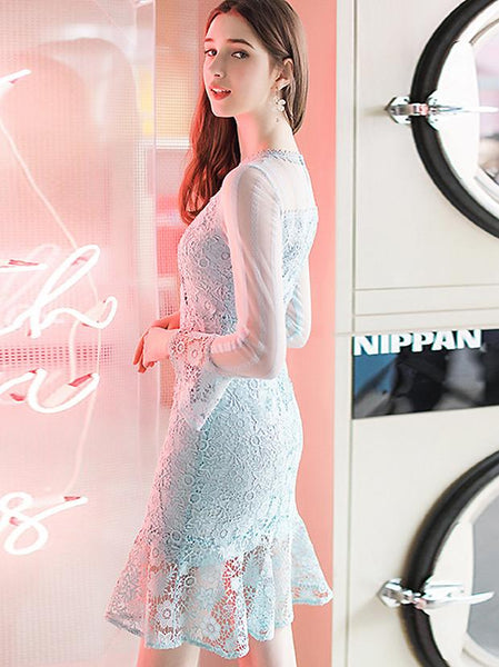 Chic Hollow Out Lace Solid O-Neck Flare Sleeve Fishtail Dress