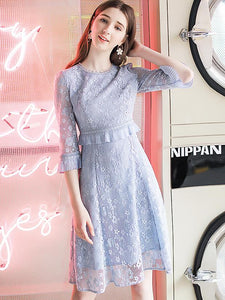 Pure Color Lace O-Neck 3/4 Sleeve Hollow Out A-Line Dress