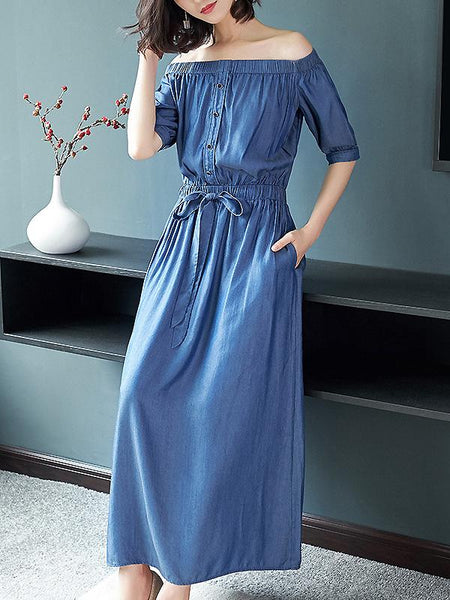 Denim Boat Neck Single-Breasted Lacing Collect Waist Dress