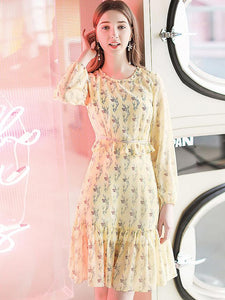 Chiffon Floral Print O-Neck Long Sleeve Pleated Dress