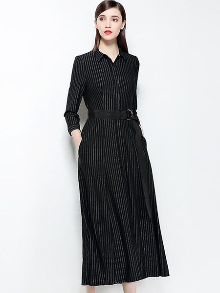 Vintage Stripe Turn-Down Collar Long Sleeve Lacing Dress