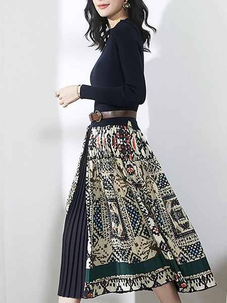 Knitted Stitching Long Stitching Belted Pleated Dress