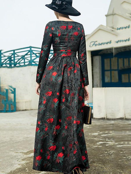Stylish O-Neck Long Sleeve High Waist Belted Floral Dress