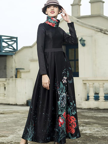 Print O-Neck Long Sleeve High Waist Belted One-Step Dress