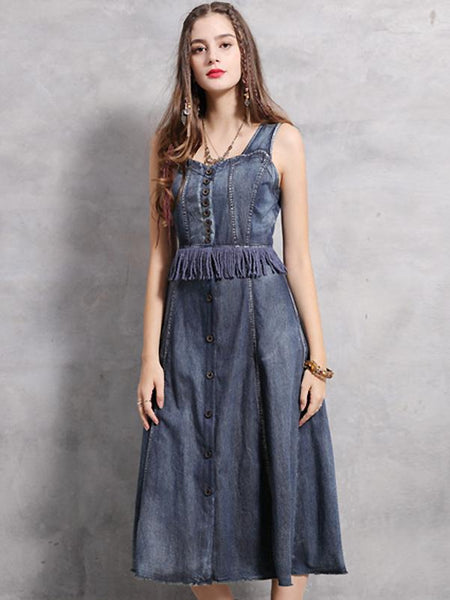 Vintage Denim Strapless Single-Breasted Stitching Tassels Dress