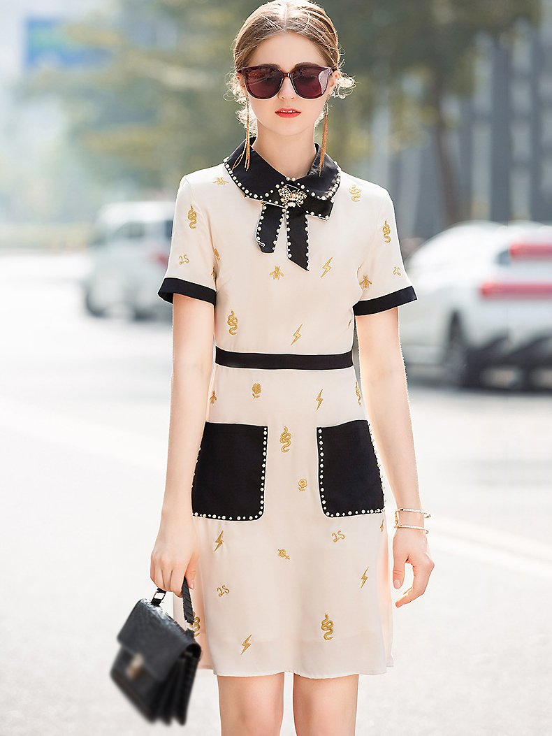 Embroidery Bowknot Collar Collect Waist Pocket A-Line Dress