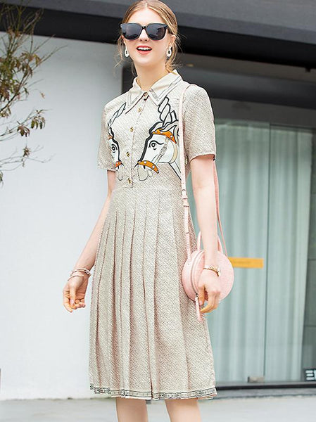 Embroidery Turn-Down Collar Short Sleeve Pleated Dress