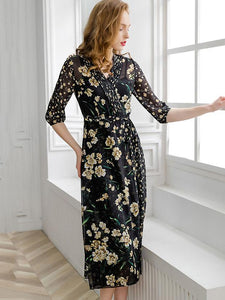 Floral Print Pleated V-Neck Half Sleeve Lacing Big Hem A-Line Dress