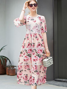 Sweet Stitching Lace Short Sleeve Floral Dress