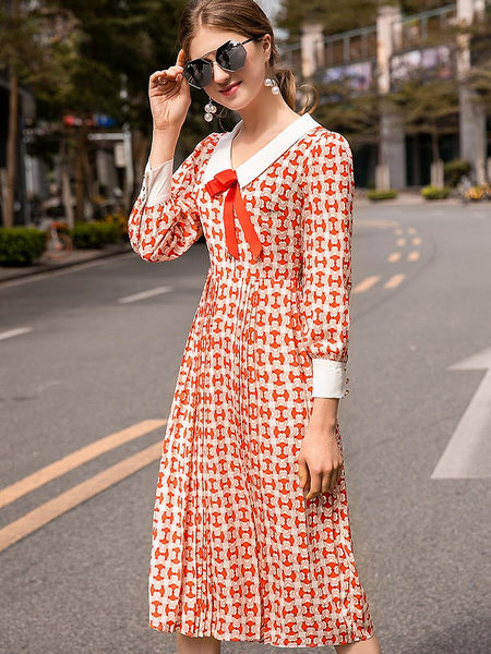 Sweet Bowknot Collar Long Sleeve Pleated Dress