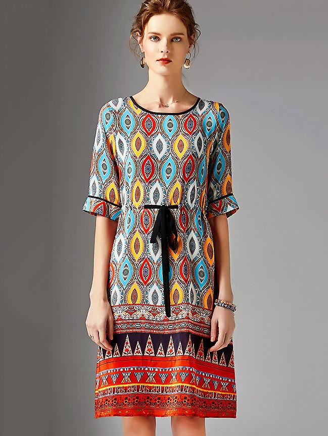 Fashion Print O-Neck Half Sleeve Silk Lacing Slim Midi Dress
