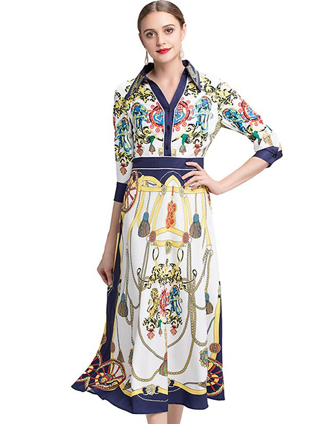 Vintage Print Turn-Down Collar 3/4 Sleeve Big Hem Dress
