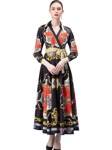 Elegant Turn-Down Collar Long Sleeve Big Hem Maxi Dress