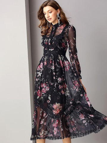 Elegant Floral Print Lace Stitching Big Hem Maxi Dress
