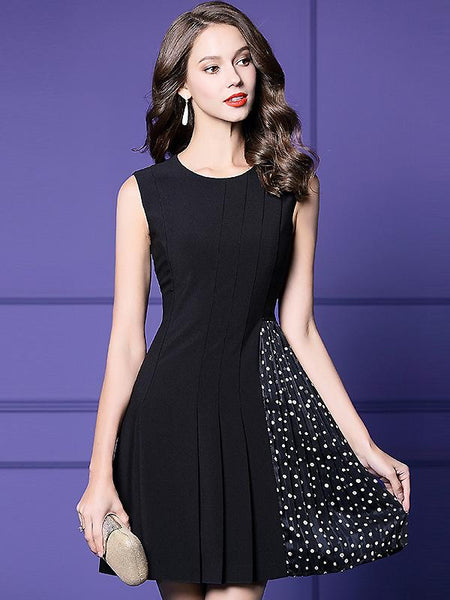 Black Sleeveless Collect Waist Polka Dot Pleated Dress