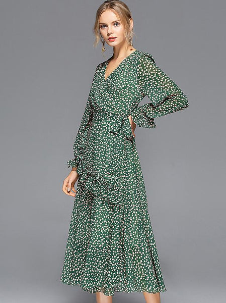 Print Falbala Long Sleeve V-Neck Slim Ruffle Big Hem Midi Dress