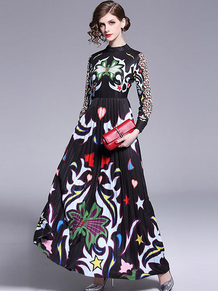 Stylish Print Leopard Puff Sleeve Stand Collar Pleated Maxi Dress