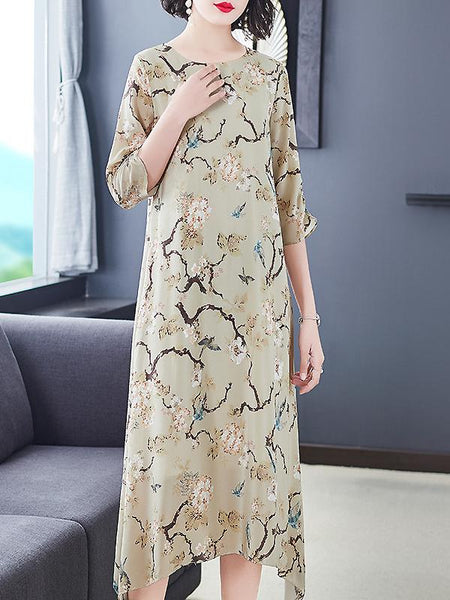 Silk Elegant Print O-Neck Half Sleeve Loose A-Line Dress