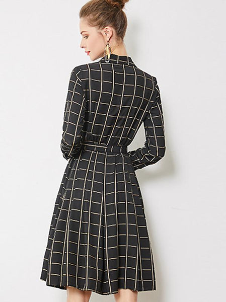 Plaid Long Sleeve Single-Breasted Belted Midi Dress