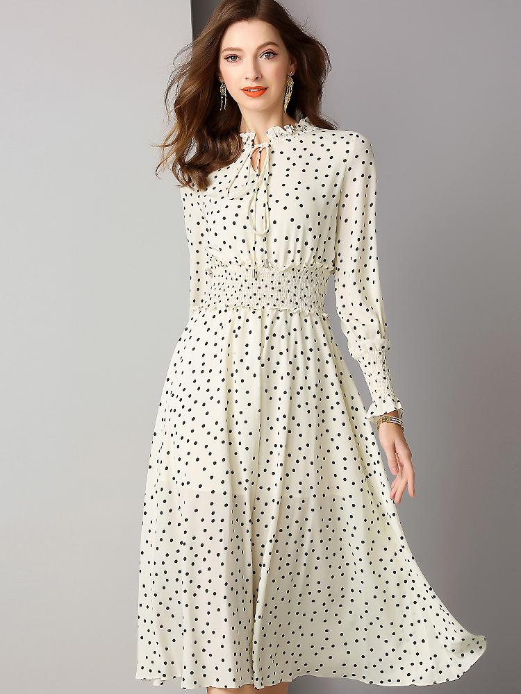 Polka Dots Ruffled Bow Tie Long Sleeve Pleated Midi Dress