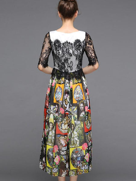 Print O-Neck Half Sleeve Collect Waist Dress