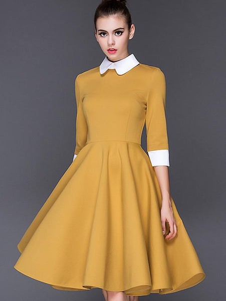 Fashion Cotton 3/4 Sleeve Collect Waist Big Hem Dress