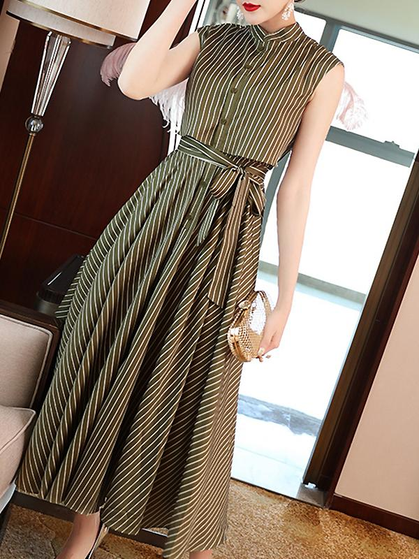 Stripe Sleeveless Single-Breasted Lacing Big Hem Dress