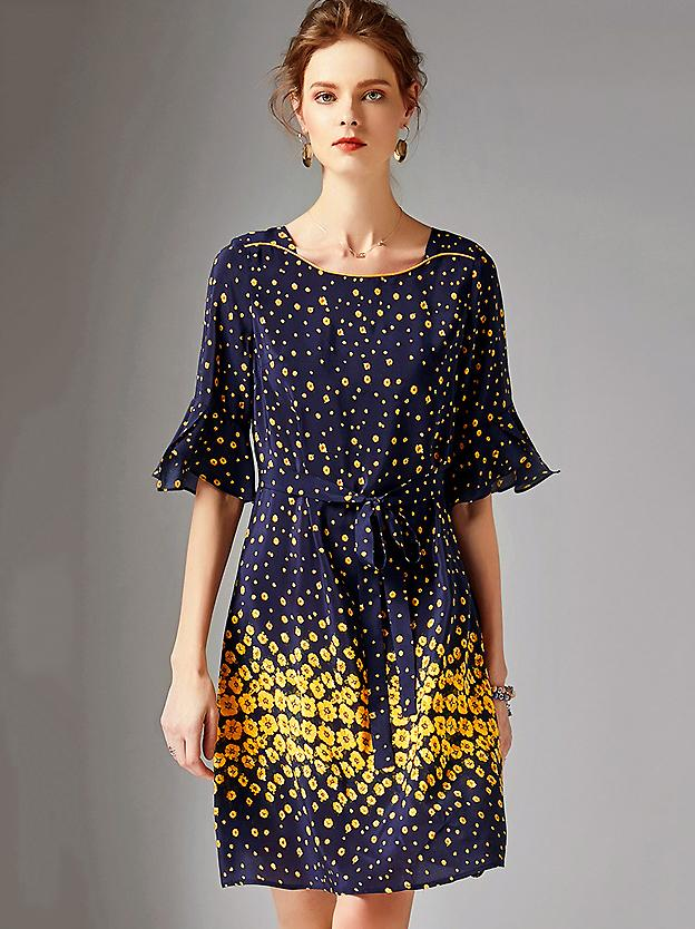 Silk Print Square Neck Flare Sleeve Lacing A-Line Midi Dress