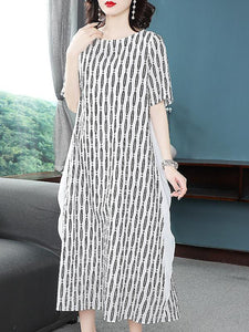 Casual Mesh Stitching O-Neck Short Sleeve Shift Dress