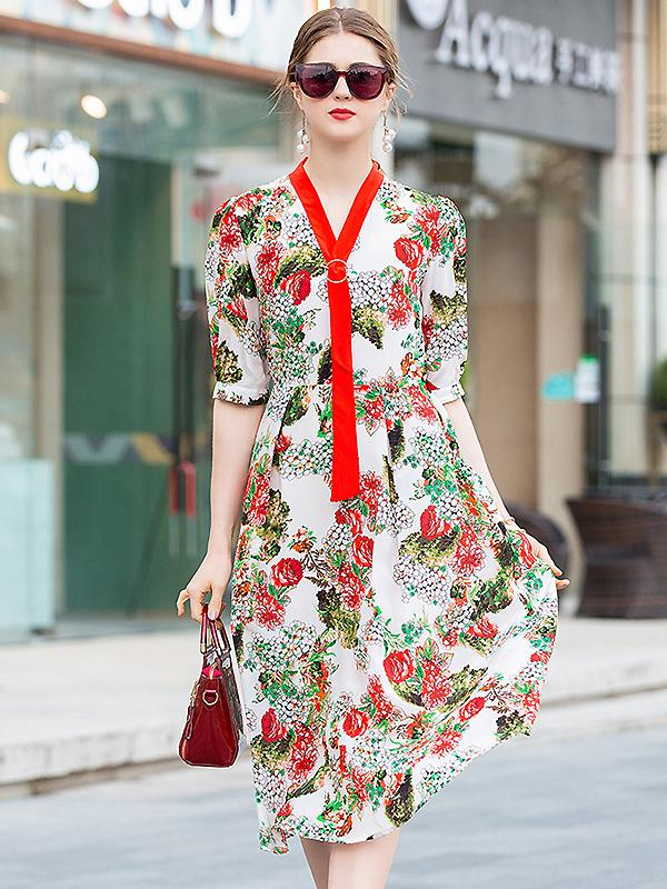 Design V-Neck Print Bowknot Half Sleeve Silk A-Line Dress