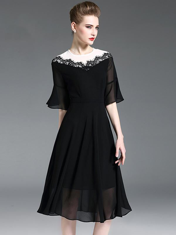 Hit Color Silm Pure Color Chiffon Half Flare Sleeve Skater A-line Dress